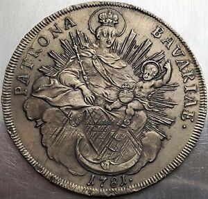 1 Thaler 1781 H.ST Karl Theodor Konventionstaler German States BAVARIA Top Grade