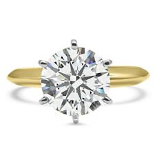 3 Ct Round Cut Moissanite Diamond Solitaire Engagement Ring 14K Multi-Tone Gold