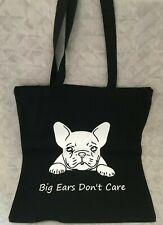 French Bulldog Big Ears Dont Care Black Tote Bag Vinyl Printed Christmas Gift