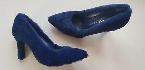 KATY PERRY Dark Blue The Sissy Faux Fur Fluffy Stiletto Heels UK Size 4 EU37 US7