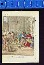 INCA BLOOD Ceremony 1800s Antique Hand Colored Print