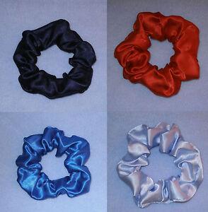 Satin Hair Scrunchie Elastic Colour Choice Navy Light Blue Red Royal School