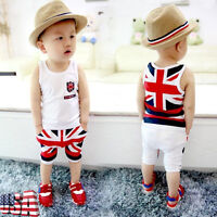 2pcs Toddler UK Flag Outfits Kids Baby Boys Tops  Fifth Pants Kids Clothes Set