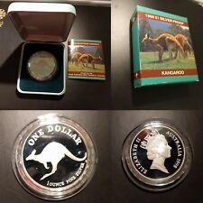 Australia 1998 Kangaroo 1oz Silver Proof, in Scarce Custom box, Cased w CoA