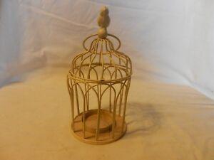 Cream Metal Hanging Bird Cage Tea Light Candle Holder with Bird