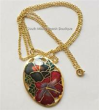 Gold Cloisonne Hibiscus Flower Necklace Plated Island Beach Hawaiian 24 inch USA