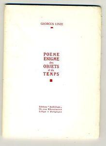 (106B) Georges LINZE Poème Enigme des objets et du temps