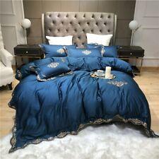 2020 Egyptian cotton blue pink embroidery Bedding Set Duvet Cover set Pillowcase