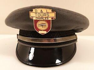 """Rare Vintage """"D & L TOURS"""" ~ BUS DRIVER HAT Cap w/ GOLD Tone Metal Badge Nice!"""