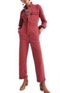 Madewell Dusty Burgundy Garment Dyed Denim Slim Coverall Jumpsuit