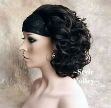 Brown Black 3/4 Fall Hairpiece Classic Short Curly Half Wig Cap Hair Piece #2
