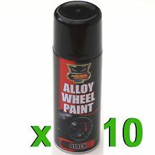 10 X NOIR SATIN Jante en Alliage Spray CAN-BUS 200ml RESTAURATEUR voiture moto