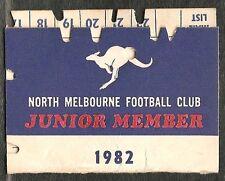 1982 North Melbourne Membership card seasons ticket
