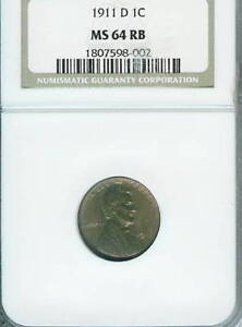 1911-D Lincoln Cent : NGC MS64RB