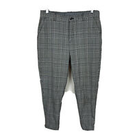Zara Mens Chino Pants Size 31 Grey Plaid Tapered Fit Good Condition