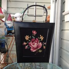 Vintage Black Leather Floral Tapestry Carpet Bag Needlework Handbag Purse 50s 60