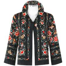 COUTURE c.1920's Black Silk Multicolor Chinese Floral Embroidered Jacket