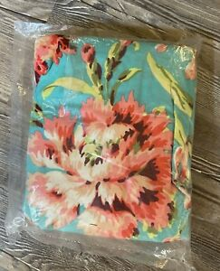 Carousel Designs Fitted Crib Sheet Coral and Teal Floral 28 x 52 NIP