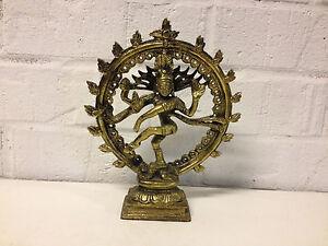 Possibly Vintage Gilt Metal Asian Indian Dancing Shiva Nataraja Statue Figurine