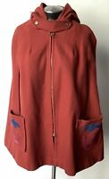 Vintage 1970s Hooded Rust Wool Boho Hippie Cape with Suede Appliqué