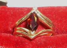 Vintage 14K & 10K Gold Garnet & Diamond Ring Size 5