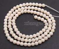 """4mm White Round Natural Coral Beads for Jewelry Making DIY loose Strand 15"""" l605"""