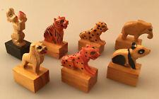 Vintage Lot of 7 - Shanghai, Hand Carved Animal Pencil Sharpeners, Unused!!