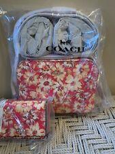 💙 Coach 3275 Mini Camera Bag Crossbody  Vintage Floral Daisies & Trifold Wallet