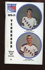 1970/1971 NHL Hockey New York Rangers Blue Book / Yearbook EXMT
