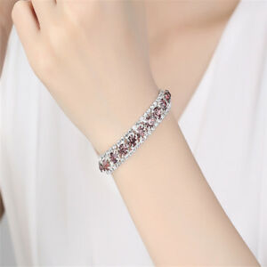 Multi Colors Crystal Zircon Rhinestone Bracelet Bangle Gift For Women Ladies BA