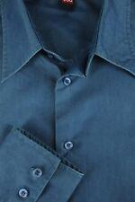 4 You Hombre Acero Macizo Algodón Azul Poliéster Camisa Informal XL XL
