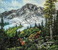 Original Signed Mountain Oil Painting Art Decor 24x30 Canvas Bob Ross Style