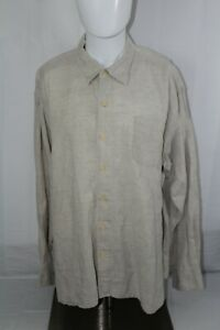 TOMMY BAHAMA Men's XXL Tan Long Sleeve Linen Shirt