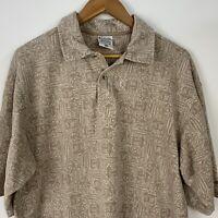 Columbia Mens L Polo Shirt Tan Beige Tiki Hut Surf Board Hibiscus Short Sleeve