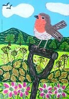 Original Painting Robin In Hedgerow, Flowers, Country, Naive/folk Art,Bird,