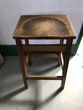 Vintage Wooden Stool Rustic Reclaimed Old School Science Laboratory