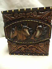 NEW- Beautiful Triple Horse Head Tissue Box Cover-Western-Cowboy-Leather Look