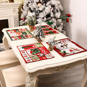 Santa Red Christmas Placemats & Coasters PVC Table Place Mats Dinner