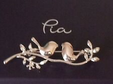 Pia Sterling Silver Brooch Birds On Branch With Leaves 5.5cm x 1.8cm New In Box!