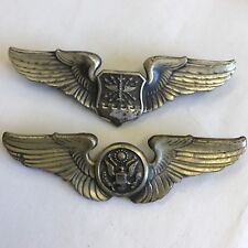 2 X Vintage Air Force Wings 75mm White Metal Silver Coloured