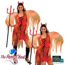 LADIES DEVIL FAIRY COSTUME & WINGS Halloween Red Fairy Fancy Dress Outfit AC600