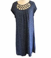 BLUE ILLUSION Women's Size Large Blue Pink Textured Spot Shift 100% Silk Dress