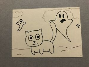 Original ACEO - Cat And Ghosts - 3.5 Inch By 2.5 Inch Ink Drawings