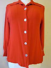 ILYSEHART LTD Women's Red Long-Sleeve Button-down Rayon Collared Shirt Blouse, M
