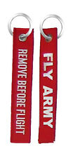 Fly Army / Remove Before Flight - Embroidered Key Chain Fob