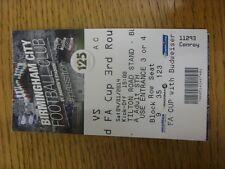 14/01/2014 billet: Birmingham City V Bristol Rovers [FA Cup] billet daté du 04/01/