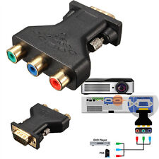 3RCA RGB Video Female To 15Pin VGA Styple Component Video Jack Adapter Connector