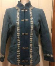 Vintage Fjord Fashion Womens Blue White Multi-Color Wool Sweater Jacket SZ 38
