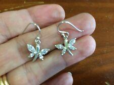 Genuine Sterling Silver 925 Cubic Zirconia Butterfly Hook Dangle Earrings