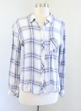 RAILS Hunter Ivory Blue Pink Plaid Button Down Blouse Shirt Size M *Read